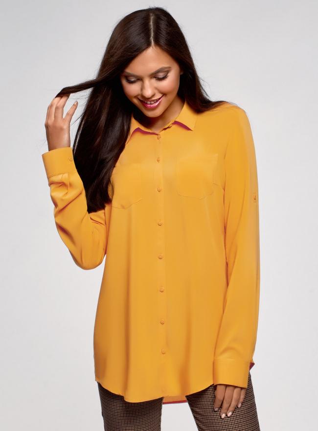 Блузка с нагрудными карманами и регулировкой длины рукава oodji #SECTION_NAME# (желтый), 11400355-8B/48458/5200N