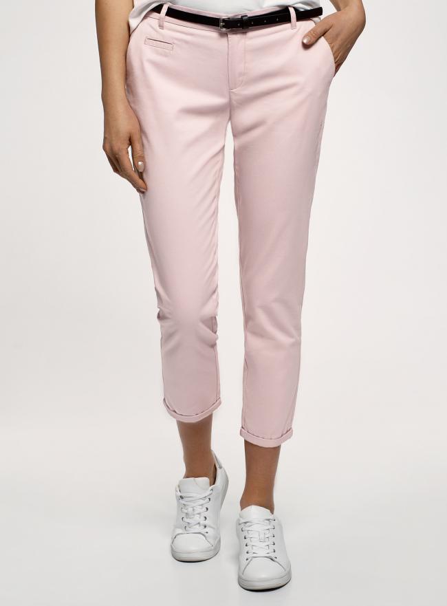 Брюки-чиносы с ремнем oodji для женщины (розовый), 11706193B/42841/4001N