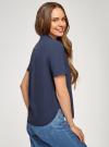 Блузка вискозная с короткими рукавами oodji #SECTION_NAME# (синий), 11411137B/14897/7900N - вид 3
