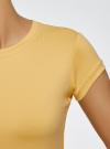 Футболка из эластичной ткани с круглым вырезом oodji #SECTION_NAME# (желтый), 14711003-2B/45297/5200N - вид 5