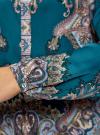 Блузка из струящейся ткани с принтом oodji #SECTION_NAME# (бирюзовый), 21411144-3/35542/7475E - вид 5