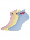 Комплект из трех пар хлопковых носков oodji #SECTION_NAME# (разноцветный), 57102705T3/48022/38 - вид 2