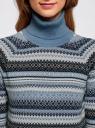 Свитер из хлопковой пряжи с рукавом 3/4 oodji для женщины (синий), 64412196/43303/7912J