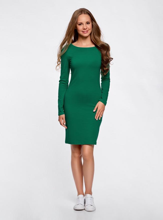 Платье трикотажное облегающего силуэта oodji для женщины (зеленый), 14001183B/46148/6D00N