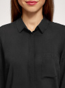 Блузка свободного силуэта с декоративными пуговицами на спине oodji для женщины (черный), 11401275/24681/2900N