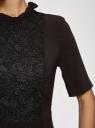 Платье с декоративной отделкой горловины и вставкой из кружева oodji #SECTION_NAME# (черный), 11913033/42250/2900N - вид 5