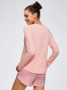 Футболка с рукавом реглан и надписью на груди oodji для женщины (розовый), 59811021-5/47944/4147P