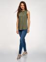 Топ вискозный с рубашечным воротником oodji для женщины (зеленый), 14911009B/26346/6800N