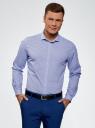 Рубашка хлопковая в мелкую графику oodji #SECTION_NAME# (синий), 3L110309M/44425N/1074G - вид 2
