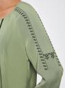 Платье вискозное с вышивкой и декоративными завязками oodji #SECTION_NAME# (зеленый), 21914003/33471/6200N - вид 5
