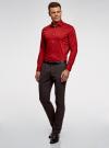 Рубашка базовая приталенная oodji для мужчины (красный), 3B140000M/34146N/4C00N - вид 6