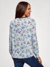 Блузка из струящейся ткани с контрастной отделкой oodji #SECTION_NAME# (серый), 11411059B/43414/2019F - вид 3
