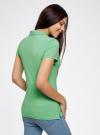 Поло из ткани пике с вышивкой oodji #SECTION_NAME# (зеленый), 19301001-5/46161/6500P - вид 3