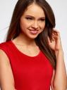Платье трикотажное с круглым вырезом oodji #SECTION_NAME# (красный), 14008014-6B/46943/4500N - вид 4