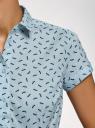Рубашка хлопковая с коротким рукавом oodji #SECTION_NAME# (синий), 13K01004-1B/14885/6575O - вид 5