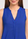 Топ вискозный с V-образным вырезом oodji для женщины (синий), 11411105B/24681/7500N - вид 4