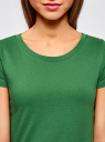 Футболка базовая из хлопка oodji для женщины (зеленый), 14701008B/46154/6E00N