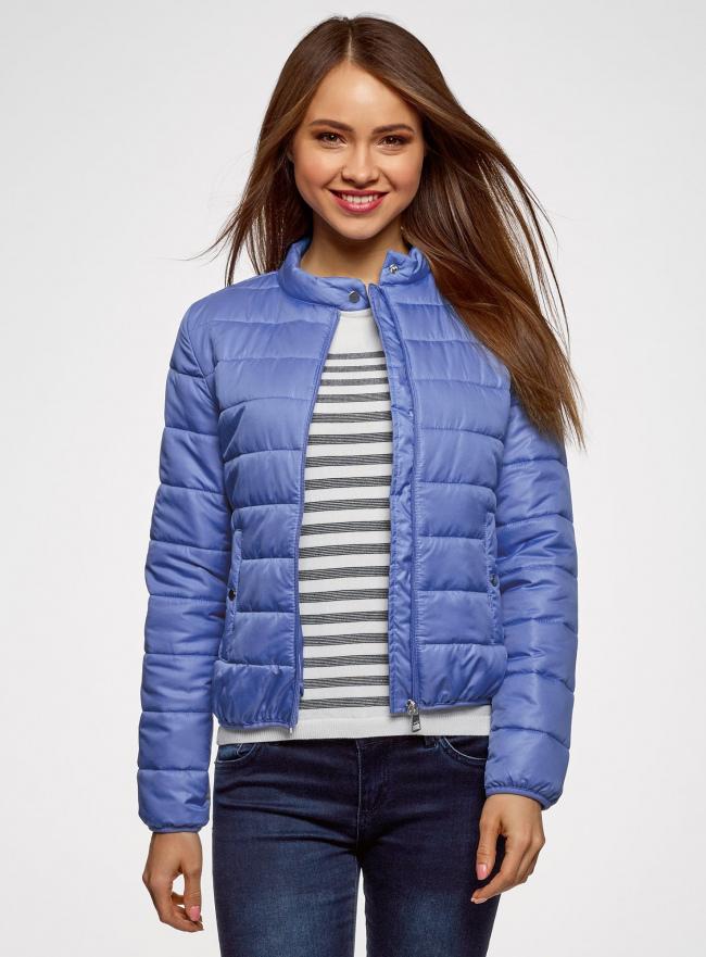 Куртка стеганая с воротником-стойкой oodji для женщины (синий), 10203060B/43363/7500N