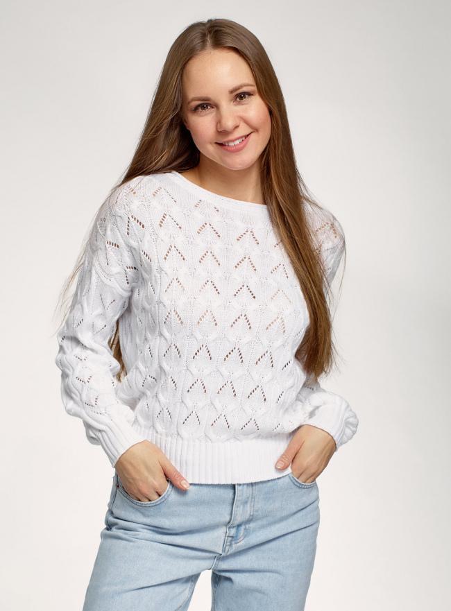 Джемпер ажурный с длинным рукавом oodji для женщины (белый), 63807372/35472/1000N
