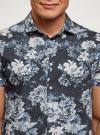 Рубашка принтованная с коротким рукавом oodji #SECTION_NAME# (синий), 3L410133M/44425N/7970F - вид 4