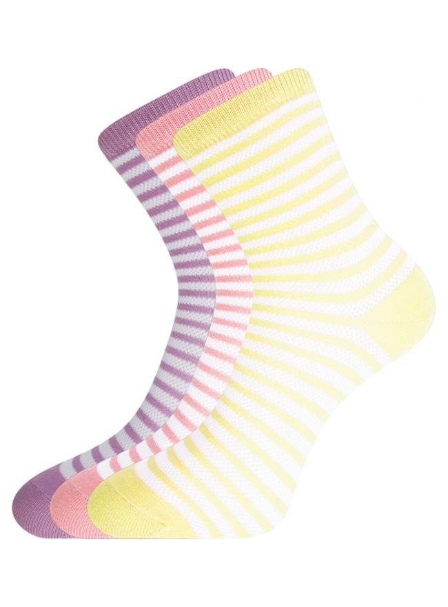 Комплект хлопковых носков в полоску (3 пары) oodji #SECTION_NAME# (разноцветный), 57102813T3/48022/17