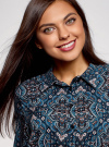 Блузка вискозная прямого силуэта oodji #SECTION_NAME# (синий), 11411098-3/24681/7919E - вид 4