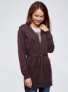 Кардиган с поясом и накладными карманами oodji для женщины (фиолетовый), 63212601/43755/8800M - вид 2