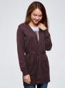 Кардиган с поясом и накладными карманами oodji #SECTION_NAME# (фиолетовый), 63212601/43755/8800M - вид 2