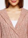 Кардиган с капюшоном и поясом oodji #SECTION_NAME# (розовый), 73207185-2/33491/4B12M - вид 4