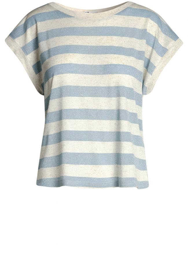 Футболка свободного силуэта из комбинированной ткани oodji для женщины (синий), 14708005-3/46862/7420S