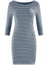 Платье трикотажное в полоску oodji #SECTION_NAME# (синий), 14001071-11/46148/7029S