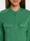 Блузка вискозная с регулировкой длины рукава oodji #SECTION_NAME# (зеленый), 11403225-3B/26346/6E00N - вид 4