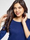 Платье трикотажное с рукавом 3/4 oodji #SECTION_NAME# (синий), 24001100-3/45284/7500N - вид 4