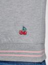 Свитшот хлопковый с принтом и вышивкой oodji #SECTION_NAME# (серый), 14807021-11/46919/2019Z - вид 5