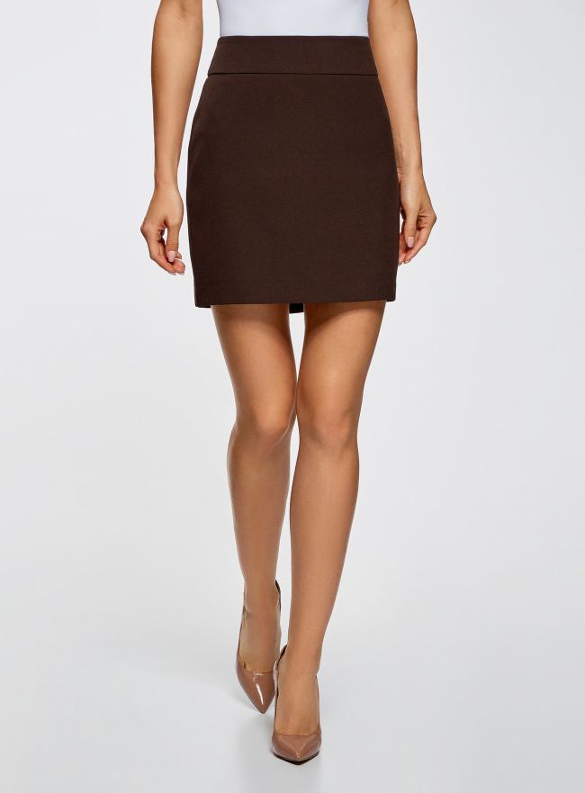 Юбка короткая базовая oodji для женщины (коричневый), 11600399-1B/14917/3900N