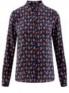 Блузка принтованная из вискозы oodji #SECTION_NAME# (синий), 11411087-1/24681/7931E