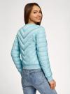 Куртка стеганая с круглым вырезом oodji #SECTION_NAME# (бирюзовый), 10203079/49439/7300B - вид 3