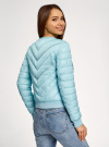 Куртка стеганая с круглым вырезом oodji для женщины (бирюзовый), 10203079/49439/7300B - вид 3