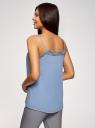 Топ в бельевом стиле с кружевной отделкой oodji для женщины (синий), 14911004-1B/45193/7001N