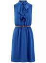 Платье из струящейся ткани с жабо oodji #SECTION_NAME# (синий), 21913018/36215/7500N