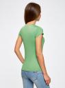 Футболка прямого силуэта с круглым вырезом oodji для женщины (зеленый), 14701046/10577/6500N