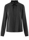 Блузка с декоративными завязками и оборками на воротнике oodji #SECTION_NAME# (черный), 11411091-3/48458/2912D