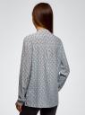 Блузка принтованная из вискозы oodji #SECTION_NAME# (синий), 11411049-1/24681/7020K - вид 3