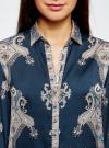 Блузка из струящейся ткани с принтом oodji #SECTION_NAME# (синий), 21411144-3/35542/7935E - вид 4