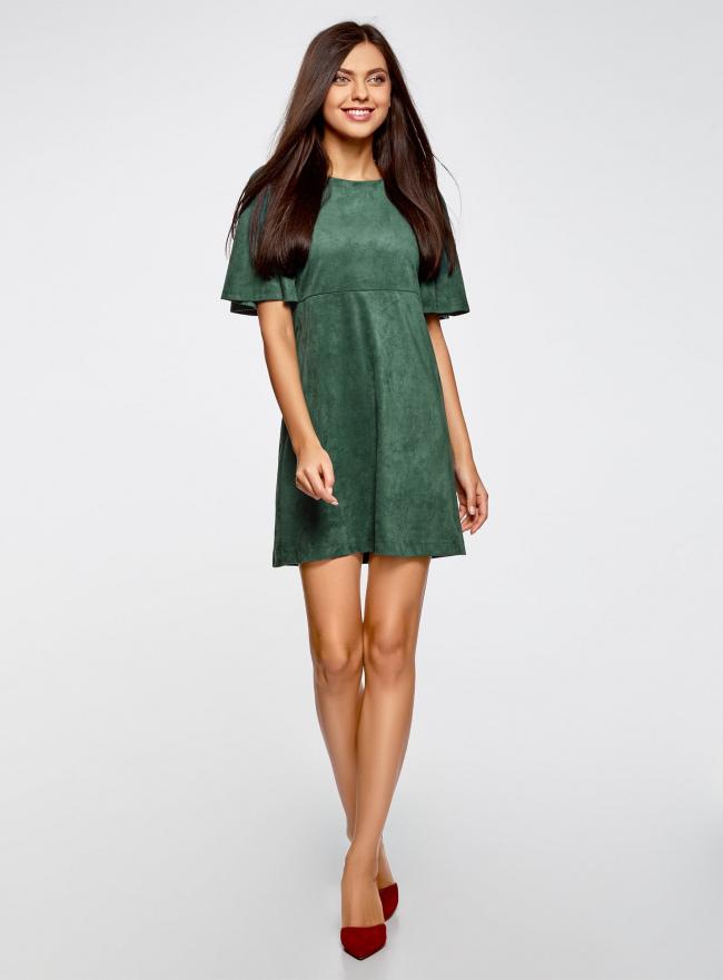 Платье из искусственной замши свободного силуэта oodji для женщины (зеленый), 18L11001/45622/6E00N
