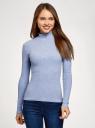 Водолазка хлопковая с пуговицами на горловине oodji для женщины (синий), 15E11022/48959/7500M