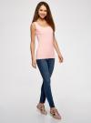 Топ из эластичной ткани на широких бретелях oodji для женщины (розовый), 24315002-1B/45297/4002N - вид 6