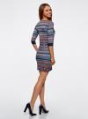 Платье жаккардовое с геометрическим узором oodji для женщины (синий), 14001064-5/46025/7949J - вид 3
