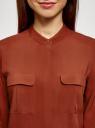 Блузка вискозная с нагрудными карманами oodji #SECTION_NAME# (коричневый), 11403225-7B/42540/4901N - вид 4