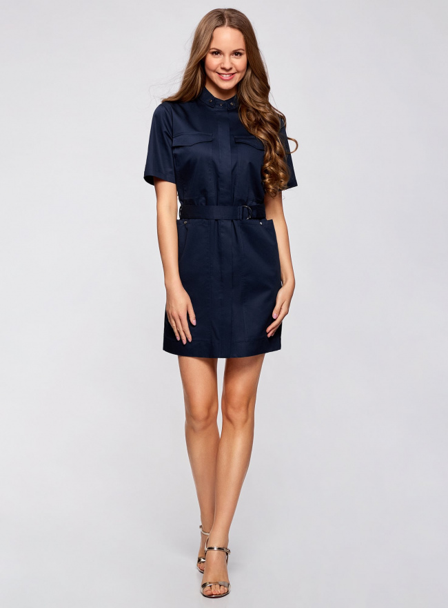 Платье-рубашка с карманами oodji для женщины (синий), 11909002/33113/7900N